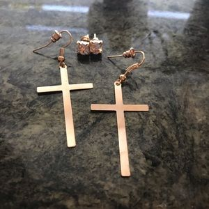 Gold Cross earring and stud pair